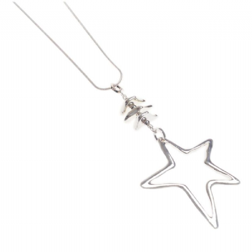 Long Star Pendant Necklace with Silver